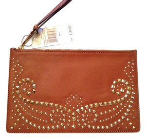 Michael Kors Large Studded Leather Zipper Closure With Wrist Strap New With Tag Attached Style #32f4graw3l Luggage Clutch