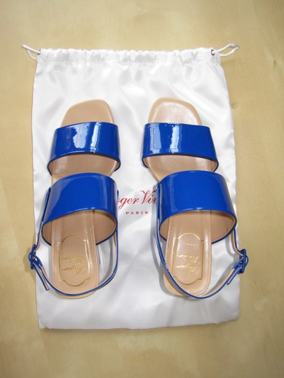 Roger Vivier Stacked Heel Patent Leather Limited Edition Made In Italy Blue Sandals