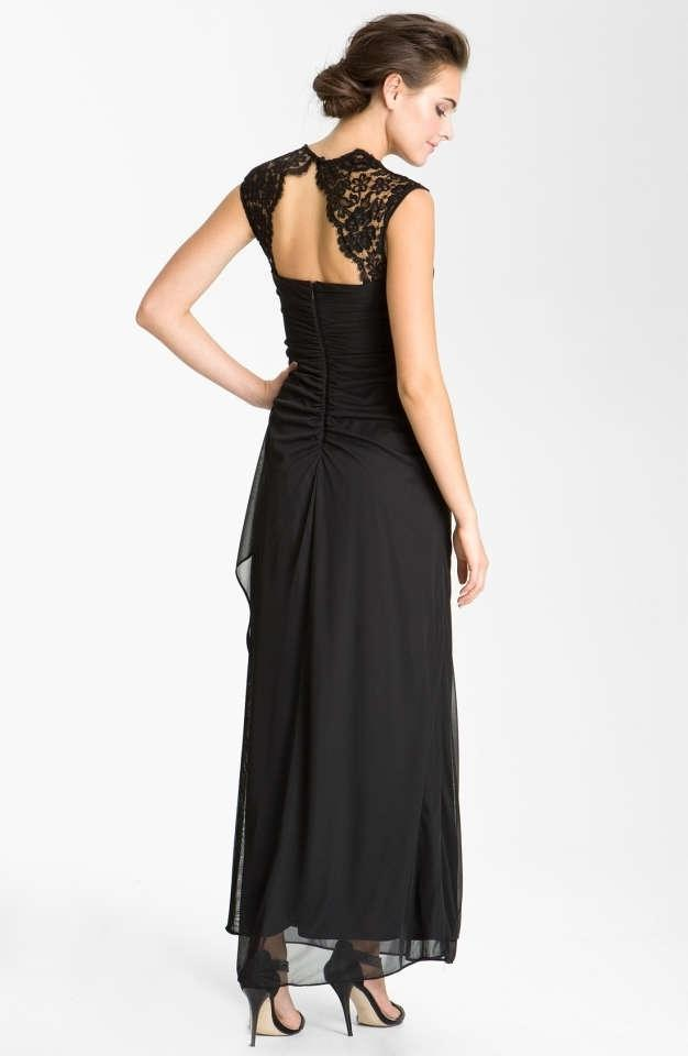 Xscape Black Cap Sleeve Long Jersey Dress With Lace Detail Style ...