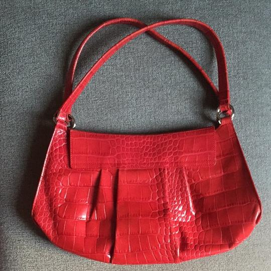 Furla Leather Embossed Satchel in Red
