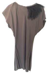 Lia Kes New York Silk Feather Tunic Dress Top Metallic Gray