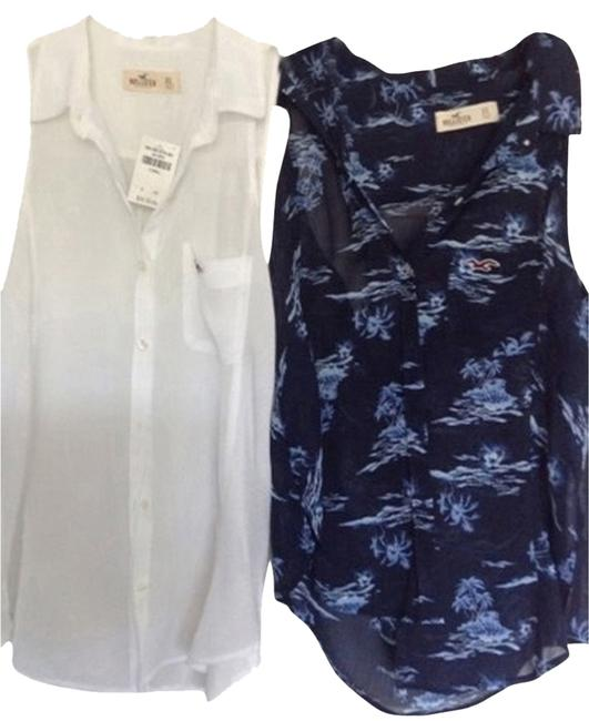Hollister Top Two Blouses One White One Blue Multi