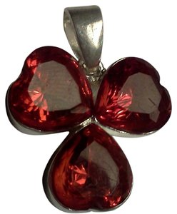 Sterling silver and red gemstone pendant