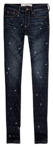 Abercrombie & Fitch Embellished Skinny Jeans-Dark Rinse