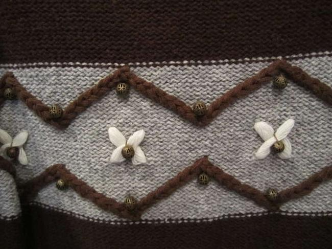 Ruff Hewn Grey White Brass Pattern Detail Embroidered Soft Sweater