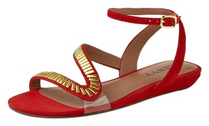 Renvy Summer Ankle Strap Gold Hardware Red Sandals