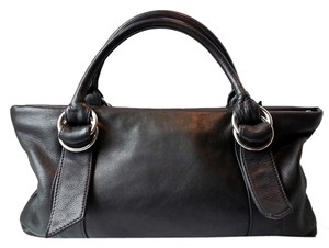 Express Buckle Silver Tote Handles Pebbled Leather Rolled Handles Small Satchel in Black