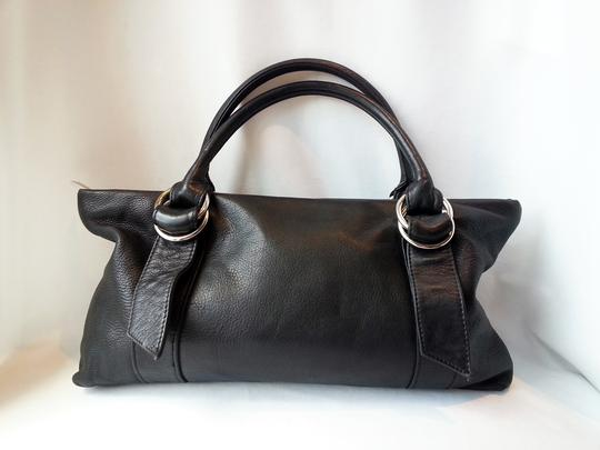 Express Buckle Silver Tote Handles Pebbled Leather Rolled Handles Small Shoulder Satchel in Black