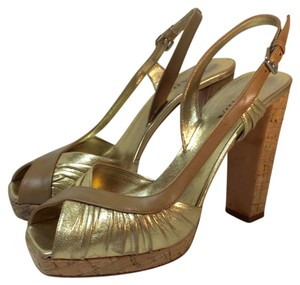 Prada Leather Cork Platform Gold Pumps