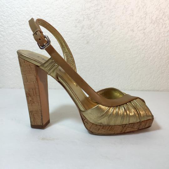 Prada Leather Cork Platform Heels Gucci Louis Vuitton Brian Atwood Tory Burch Gold Pumps