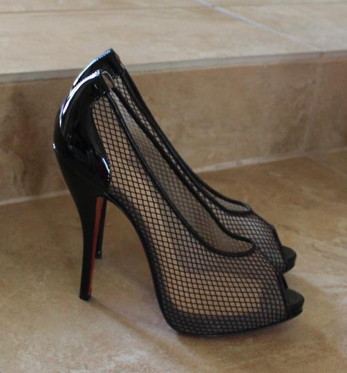 Christian Louboutin Patent Patent Leather Stiletto Peep Toe Mesh Fishnet Black Pumps