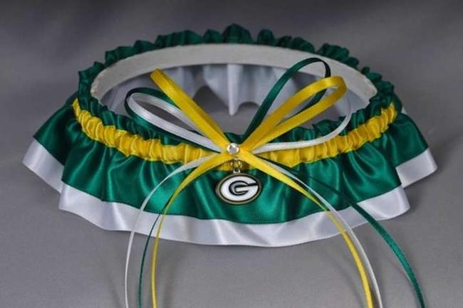 Item - Green and Yellow Packers Inspired Garter In White Satin with Swarovski Crystal