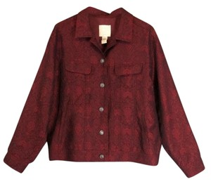 J. Jill Large Tall Brocade Red Jacket