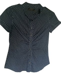 Club Monaco Dot Dot Button Down Shirt Navy Blue with small white polka dots