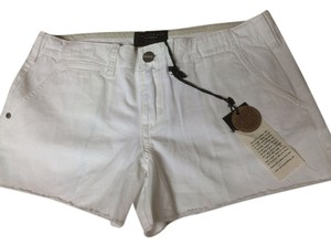 Sanctuary Clothing White Cotton Fringe Summer Cargo Shorts