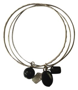 Silver Bangle Set with Black Charms