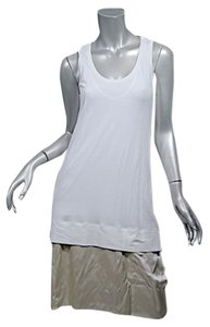 Brunello Cucinelli short dress White & Beige Satin on Tradesy