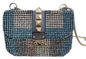 Valentino Studded Leather Crystal Sparkle Shoulder Bag