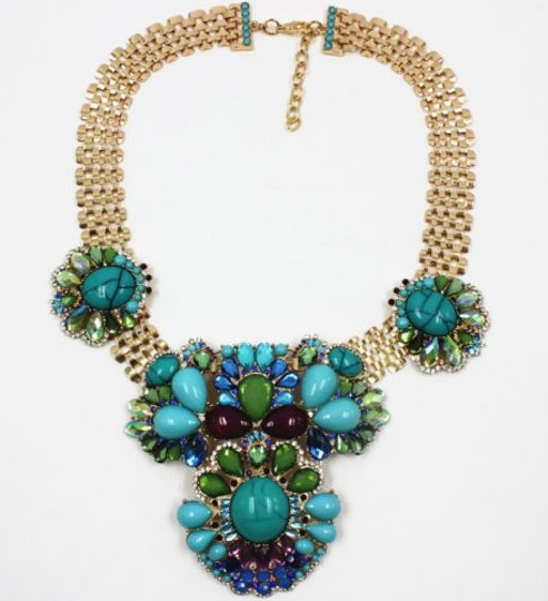 Other Fashion women statement chain mix beaded and crystal bib Necklace chokers collar