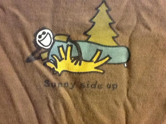 Preload https://item2.tradesy.com/images/life-is-good-brown-sunny-up-tee-shirt-size-10-m-3564421-0-0.jpg?width=400&height=650