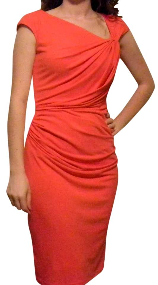 7fc6332fcb New York   Company Orange Faux-wrap Draped Above Knee Work Office ...