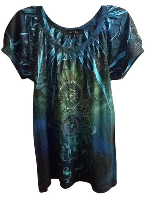 Item - Turquoise Floral Short Sleeve Comfortable Sequins Lightweight Blouse Size 14 (L)