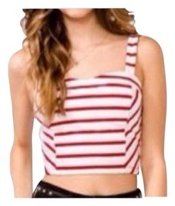 Forever 21 Crop Bustier Sweetheart Striped Top Red, White