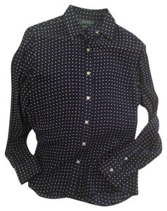 Ralph Lauren Top Navy and White Polka Dot