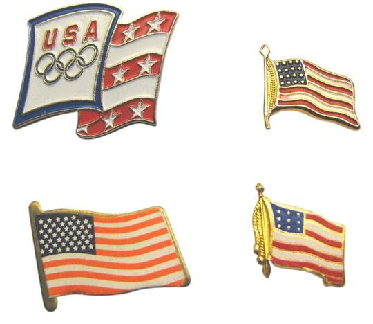 Aminco American Flag Lot 4 Gold Metal Pin USA Olympics