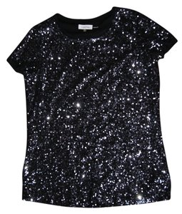 Calvin Klein Ck Ck Women's Sequins Cocktail Date Night Conservative Fashion Bling Bling Top Black/Charcoal