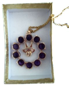 Other Vintage amethysts and chocolate diamond stone in gold chain