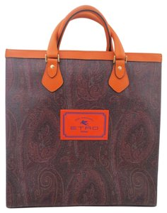 Etro Tote in Burgundy, brown with orange trim