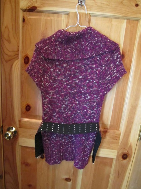 Sweater Project Short Sleeve Belt Studded Cowl Turtleneck Sweater