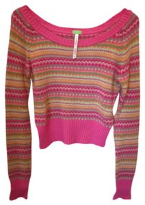 Aéropostale Crop Pink Green Orange Sweater