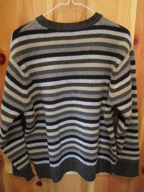 Gap Lambswool Stripe Soft Warm Boxy Boyfriend Knit Black Grey Tan Small Medium Large Sweater