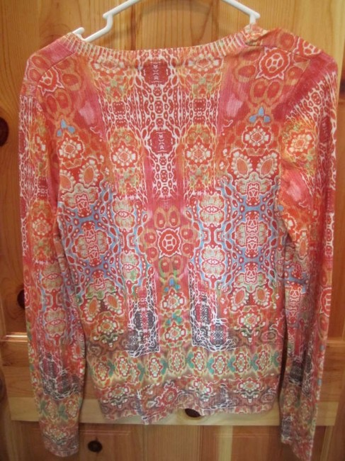 Jessica Max Watercolor Type Print Vneck Longsleeve Light Weight Orange Green Yellow White Blue Brown Knit Print Sweater