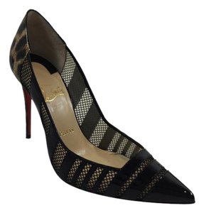 Christian Louboutin Mesh Stiletto Patent Leather Leopard Black Pumps