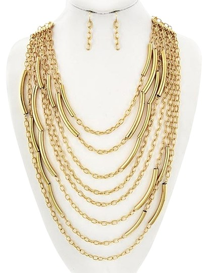 Luciano Dante Gold Tone Multi Row Necklace & Earrings