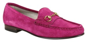 Gucci Womens 1953 Suede Horsebit Loafer Moccasins Fuchsia Boots