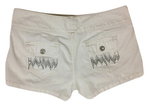 Express Denim Embellished Mini/Short Shorts White
