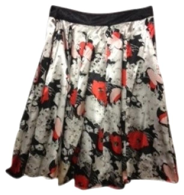 Item - Black with Off White/Orange/Pink Flowers Flowing Patterned Silky Skirt Size 8 (M, 29, 30)