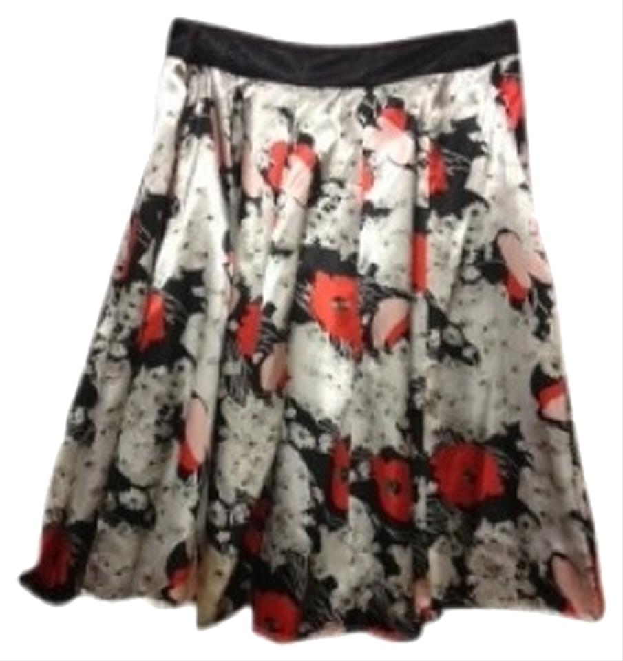 Forever 21 Black With Off Whiteorangepink Flowers Flowing