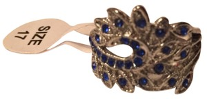 Silver plated and Blue stone Peacock ring