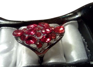 Other Silver plated cocktail ring with red stones