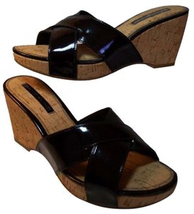Bandolino Black Patent Cork Wedges