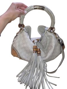 Gucci Monogram Metal Tassels Gold Indy Leather Studed Shoulder Bag