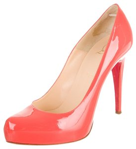 Christian Louboutin Coral Patent Patent Leather Rolando Platform Hidden Platform Stiletto Orange Pumps