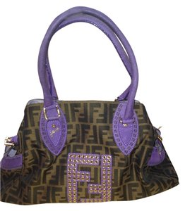 Fendi Canvas Monogram Studded Gold Shoulder Bag