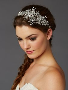 Mariell Silver Lavish Crystal Spray Vine Hair Accessory