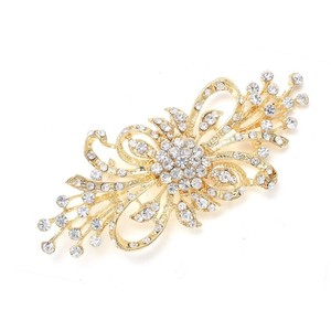 Mariell Dramatic Crystal Spray Bridal Brooch 474p-g